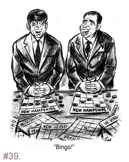 Richard Nixon, John Kennedy, New Hampshire Primary - Political Cartoon